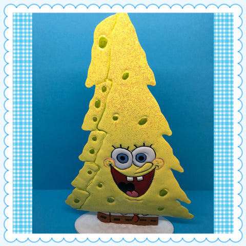SpongeBob SquarePants Metal Christmas Tree  With Glitter Nickelodeon c. 2011