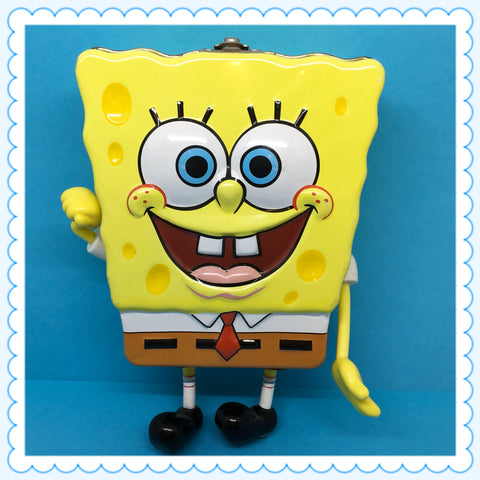 SpongeBob SquarePants Carmel Popcorn EMPTY Nickelodeon Tin With Latch c. 2002 Rare