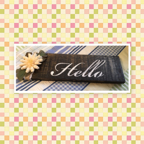 HELLO Wooden Sign Positive Words TAN Floral Handmade Hand Painted Gift Idea Home Decor