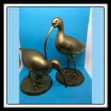 Bird Ibis Brass Hand Crafted SET OF 2 Markings l - ll Made in Korea Decorative Crafts Number 4761 - JAMsCraftCloset