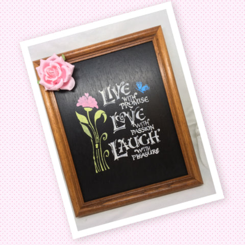 LIVE WITH PROMISE Framed Wall Art Handmade Hand Painted Home Decor Gift Wedding