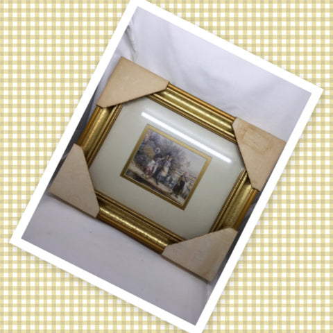 Gold Framed Four Girls Walking Wall Art Home Country Cottage Chic Farmhouse French Country