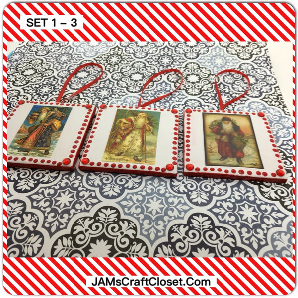 Ornaments Santa Ceramic Tile 3 by 3 Inches Set of 3 Vintage Santas Set 1-3 JAMsCraftCloset