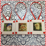 Ornaments Santa Ceramic Tile 1 3/4 by 1 3/4 Inches Set of 3 Vintage Santas Set 2 - 3s