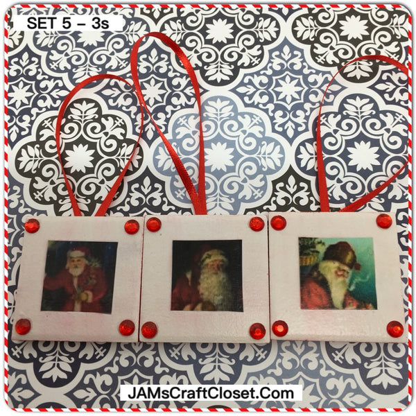 Ornaments Santa Ceramic Tile 1 3/4 by 1 3/4 Inches Set of 3 Vintage Santas Set 5 - 3s JAMsCraftCloset