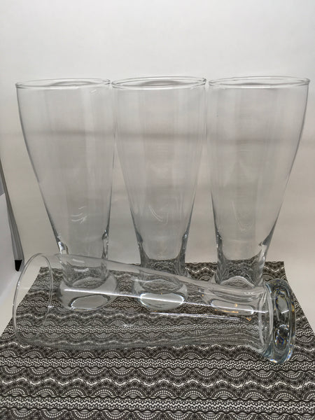 Beer Glasses  Vintage Clear Glass SET of 4 Barware - JAMsCraftCloset