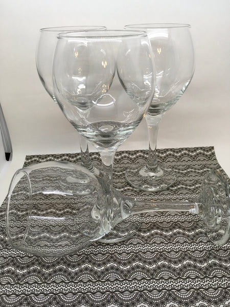Stemware Vintage Clear Glass Wine Glasses SET of 4 Barware Wedding JAMsCraftCloset