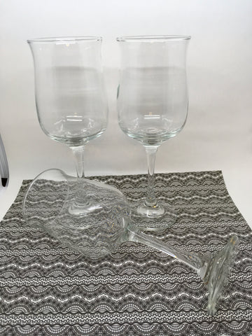 Stemware Vintage  Clear Glass Wine Glasses SET of 2 3rd One FREE  Barware Wedding