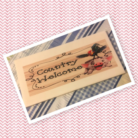 COUNTRY WELCOME PIG ROOSTER Wall Art Ceramic Tile Sign Gift Country Decor Positive Saying Gift Idea Handmade Sign Country Farmhouse Gift Campers RV Gift Home and Living Wall Hanging - JAMsCraftCloset