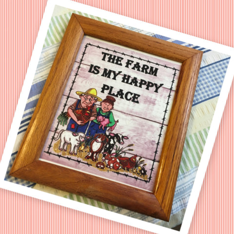 THE FARM IS MY HAPPY PLACE Vintage Natural Oak Wood Frame Sublimation on Metal Positive Saying Wall Art Home Decor Gift Idea One of a Kind-Unique-Home-Country-Decor-Cottage Chic-Gift - JAMsCraftCloset