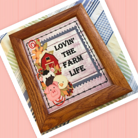 LOVIN THE FARM LIFE Vintage Natural Oak Wood Frame Sublimation on Metal Positive Saying Wall Art Home Decor Gift Idea One of a Kind-Unique-Home-Country-Decor-Cottage Chic-Gift - JAMsCraftCloset