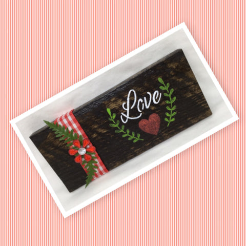 LOVE Wooden Sign Floral Positive Words Handmade Hand Painted Gift Idea Home Decor