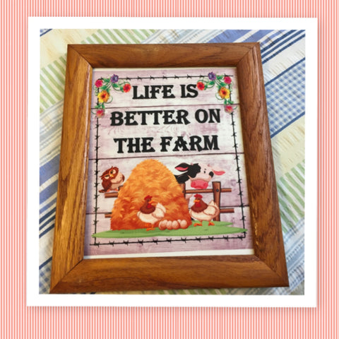 LIFE IS BETTER N THE FARM Vintage Natural Oak Wood Frame Sublimation on Metal Positive Saying Wall Art Home Decor Gift Idea One of a Kind-Unique-Home-Country-Decor-Cottage Chic-Gift - JAMsCraftCloset