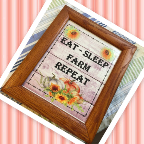 EAT SLEEP FARM REPEAT Vintage Natural Oak Wood Frame Sublimation on Metal Positive Saying Wall Art Home Decor Gift Idea One of a Kind-Unique-Home-Country-Decor-Cottage Chic-Gift - JAMsCraftCloset