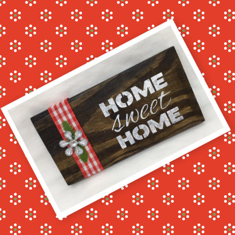 HOME SWEET HOME Wooden Sign Floral Positive Words Handmade Hand Painted Gift Idea Home Decor