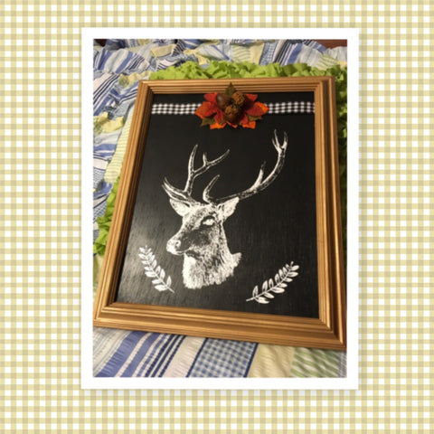 DEER HEAD on Gold Framed Black Background Wall Art Farmhouse Home Decor Deer Hunters Handmade Hand Painted Home Decor Gift Wedding One of a Kind-Unique-Home-Country-Decor-Cottage Chic-Gift Farmhouse Decor Mancave Hunting Cabin JAMsCraftCloset