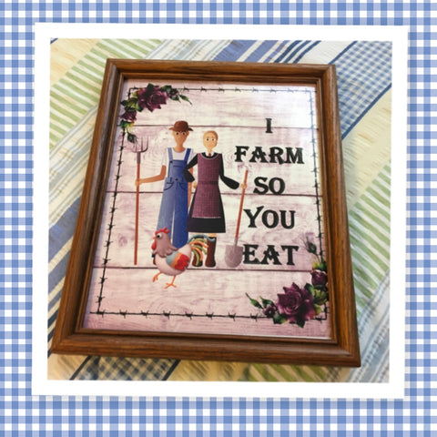 I FARM SO YOU EAT Vintage Black Wood Frame Sublimation on Metal Positive Saying Wall Art Home Decor Gift Idea One of a Kind-Unique-Home-Country-Decor-Cottage Chic-Gift - JAMsCraftCloset