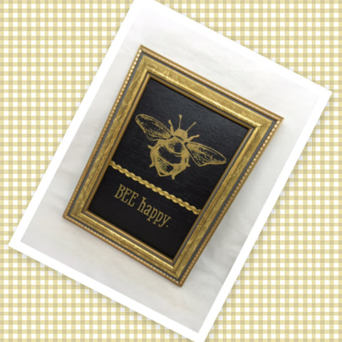 BEE HAPPY Vintage Gold Framed Saying Sign Wall Art Hand Painted Gift