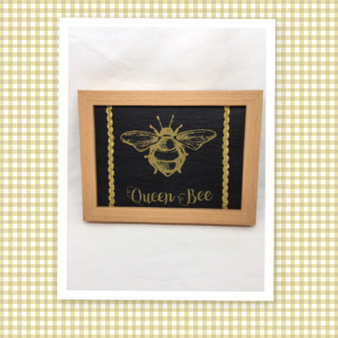 QUEEN BEE Vintage Gold Framed Saying Sign Wall Art Hand Painted Gift