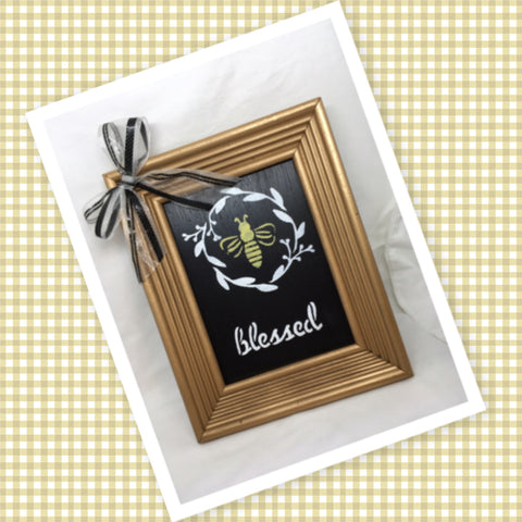 BEE BLESSED Vintage Gold Framed Saying Sign Wall Art Hand Painted Gift