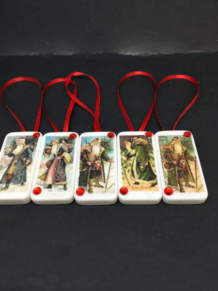 Ornaments Santa Walking Domino Handmade Vintage Christmas Set of 5 Unique One of A Kind Vintage Christmas Holiday Special Tree Holiday Decor Gift Idea JAMsCraftCloset