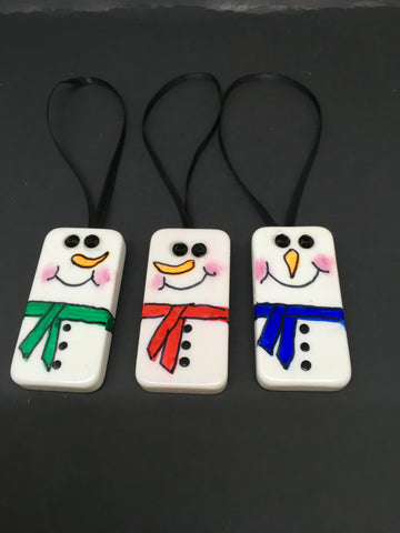 Ornaments Snowmen Domino  Handmade Vintage Christmas Set of 3