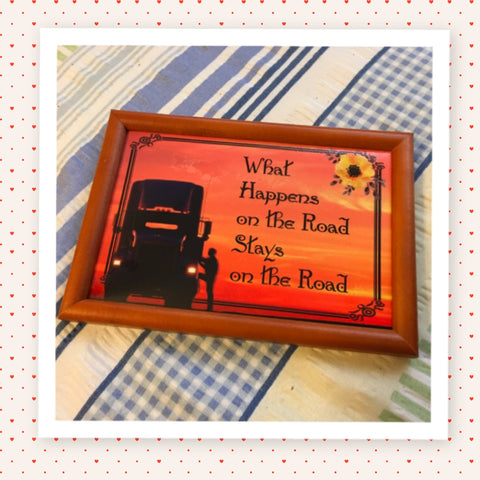 WHAT HAPPENS ON THE ROAD STAYS ON THE ROAD Vintage Black Wood Frame Sublimation on Metal Positive Saying Trucker Wall Art Home Decor Gift Idea One of a Kind-Unique-Home-Country-Decor-Cottage Chic-Gift