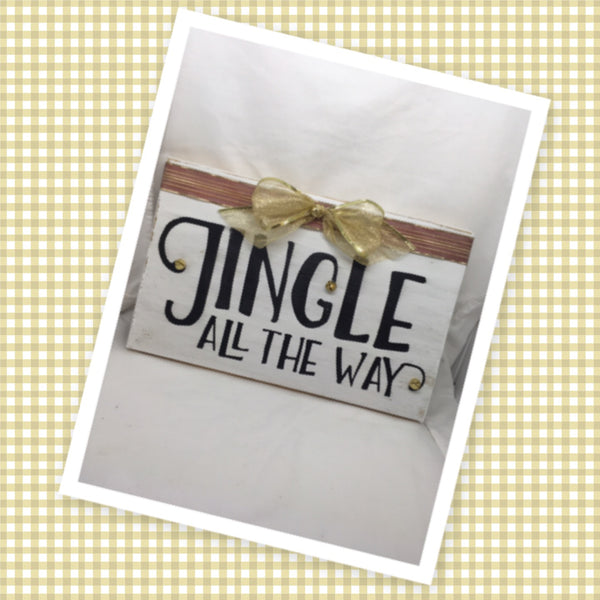 INGLE ALL THE WAY Holiday Christmas Wooden Sign Handmade Hand Painted Ribbon and Bells Gift Idea Home Decor Wall Art-One of a Kind-Unique Signs-Home Decor-Country Decor-Cottage Chic Decor-Gift-Wall Art Jar Hand Pointed HAPPY DOT flowers Cotton Ball or LED Light Holder Table Decor Bathroom Decor - JAMsCraftCloset