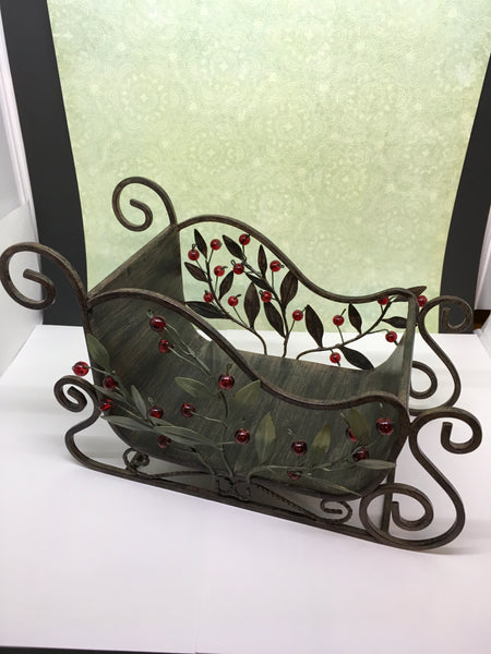 Sleigh Wrought Iron VintageGreen Leaves Red Berries Holiday Decor Centerpiece Gift Idea