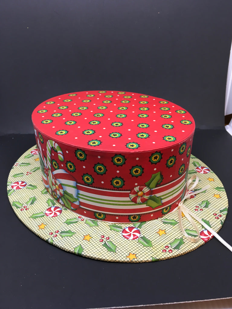 Hat Box Oval Hat Shaped Holly and Peppermint Accents Cardboard Storage Home Decor