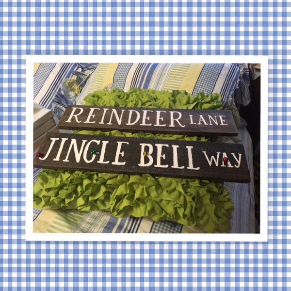 JINGLE BELL WAY Wooden Pallet Sign Holiday Christmas Decor Wall Art Gift Idea Farmhouse Country Home Decor Wall Art-Gift-One of a Kind Jar Hand Pointed HAPPY DOT flowers Cotton Ball or LED Light Holder Table Decor Bathroom Decor - JAMsCraftCloset