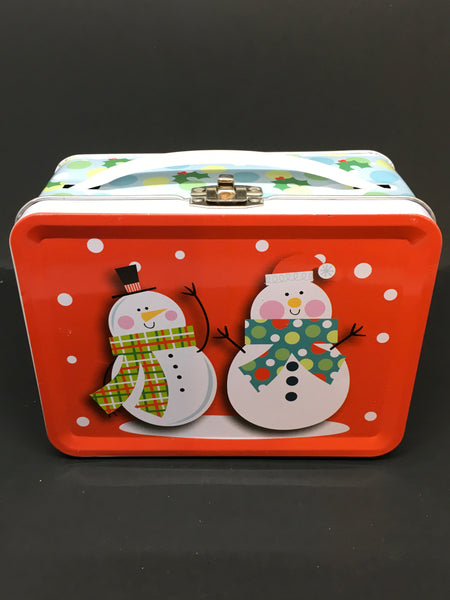 Lunch Box Tiny Snowmen Lunch Box Storage Toddler Gift Holiday Decor  SIZE:  4 Inches Tall x 5 1/2 Inches in Length x 2 1/2 Inches Thick