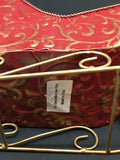 Sleigh Red and Gold Tin Vintage Holiday Decor Centerpiece Gift Idea