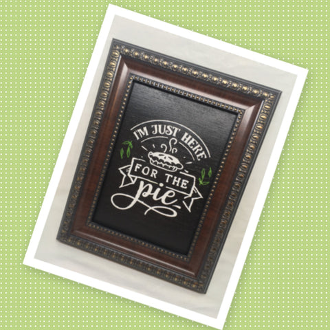 I AM JUST HERE FOR THE PIE Vintage Wood Frame Positive Saying Wall Art Home Decor Gift Idea