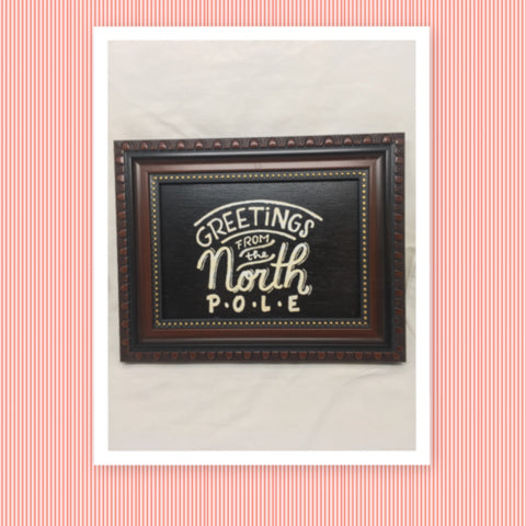 GREETINGS FROM THE NORTH POLE Vintage Framed Christmas Holiday Decor Wall Art Handmade