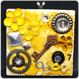 Pendant Necklace Upcycled Repurposed Ceramic Tile Handmade Steampunk Mixed Media Yellow