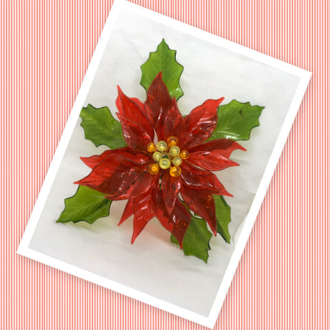 1968 Vintage Christmas Plastic Lucite Poinsettia C.K. Ind. Mid Century Modern Christmas Decor Gift