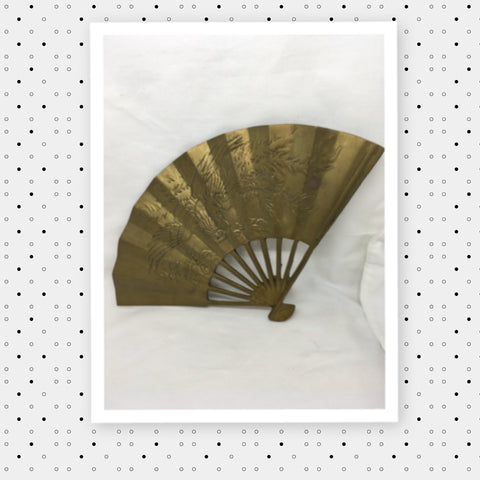 Decorative Fan Solid Brass Wall Art Asian Oriental Decor Gift Idea