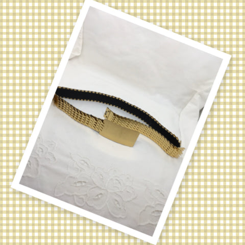 Vintage Gold Tone Metal Scale Elastic Belt Stretch Belt Circa 1970s Boho Retro Bohemian Geometric Buckle JAMsCraftCloset