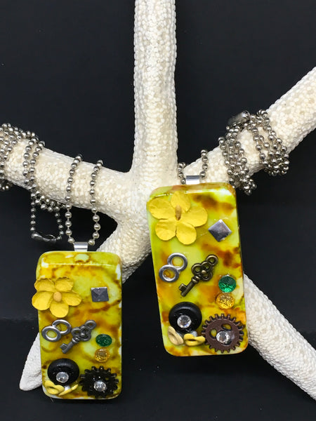 Pendant Necklace Upcycled Repurposed Domino Handmade Steampunk Mixed Media Yellow Brown