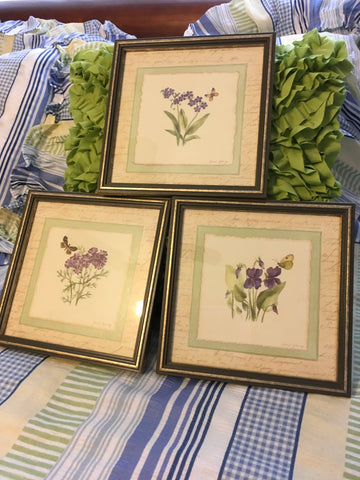 Floral Framed Prints Wall Art Home Interiors Vintage Purple Florals Gold Frames Set of 3 Home Decor Kitchen Decor Country Decor Victorian Decor Gift