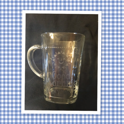 Mug Hand Etched COFFEE BREAK or GOOD MORNING With Red Heart on Handle