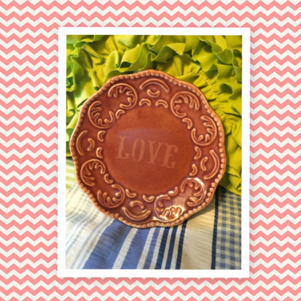 Plate Handmade Etched Upcycled Repurposed Positive Saying LOVE Wall Art Gift Idea
