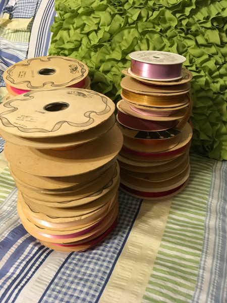 Ribbon Vintage Florist Ribbon Lot of 27 Incomplete Rolls in Different Widths JAMsCraftCloset