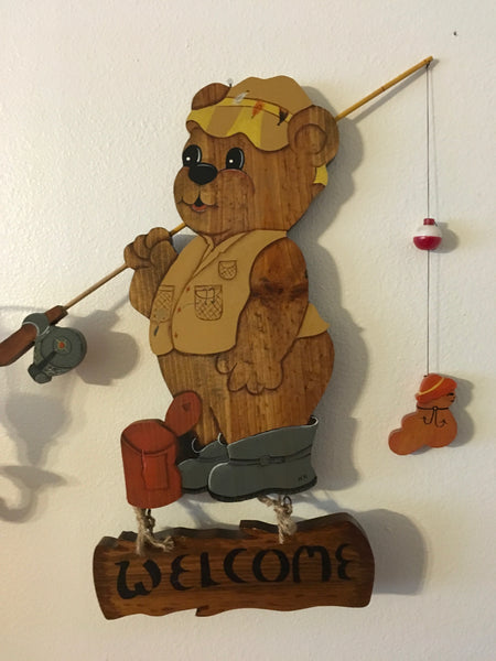 Welcome Sign Wooden Fishing Bear Handmade Hand Painted by my DAD One of a Kind JAMsCraftCloset
