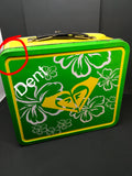 Lunchbox Vintage Metal Yellow and Green with Hawaiian Floral Accents NO THERMOS