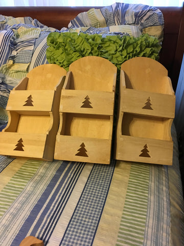 Mail Box Unfinished Pine Tree Cutout Container Organizer Vintage Wooden Wall Mount or Shelf Sitter