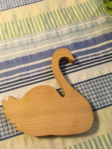 Swan Wooden Unfinished Ready for YOUR Creativity Shelf Sitter Drilled Hole to Add A Base