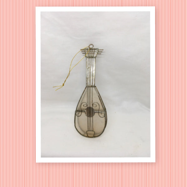 Capiz Shell Vintage Christmas Ornament Musical Instrument Tree Decor Holiday Decor Gift Idea