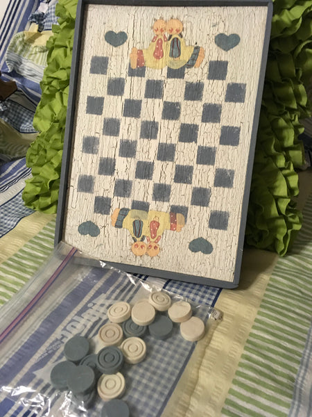 Checkerboard Small Vintage Handmade Hand Painted  by My DAD Wall Art Wall Hanging Home Country Decor - JAMsCraftCloset